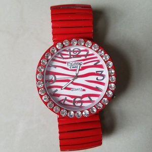 Red watch with diamonds.